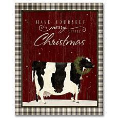 Courtside Market Cow Christmas Farm 18x26 Canvas Wall Art