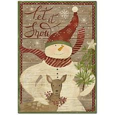 """Courtside Market Let It Snowman Flag 12"""" x 18"""" Wood Art"""