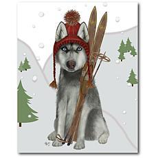 Courtside Market Skiing Siberian Husky 20x24 Canvas Wall Art