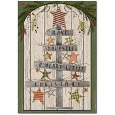 "Courtside Market Wooden Christmas Tree Flag 12"" x 18"" Wood Art"
