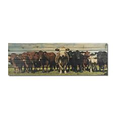 Cow Herd 12x36 Print on Wood