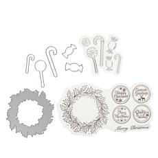 Crafter's Companion Chloe Christmas Wreath and Candy Stamp and Die Set
