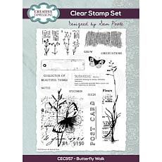 Creative Expressions Sam Poole Butterfly Walk A5 Clear Stamp Set