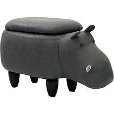 "Critter Sitters 15"" Plush Animal Storage Ottoman - Hippopotamus"