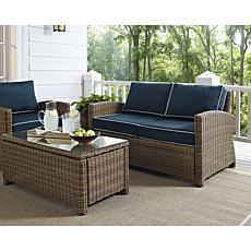 Crosley Bradenton Outdoor Wicker Loveseat - Navy