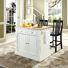 Crosley Butcher Block Top Kitchen Island w/Barstools