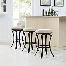 Crosley Furniture Hedley Swivel Counter Stool - Black Gold/Tan Cushion