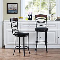 Crosley Furniture Highland Swivel Bar Stool - Black Gold/Black Cushion
