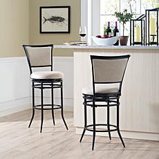 Crosley Furniture Rachel Swivel Counter Stool - Black/White Cushion