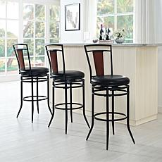 Crosley Furniture Soho Swivel Bar Stool - Black/Black Cushion