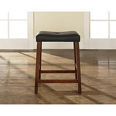 "Crosley Furniture Upholstered Saddle Seat 2pc 24"" Bar Stool Set-Cherry"