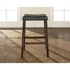 """Crosley Furniture Upholstered Saddle Seat 2pc 29"""" Bar Stools -Mahogany"""