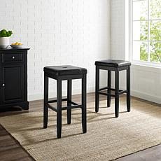 "Crosley Furniture Upholstered Square Seat 2pc 29"" Bar Stool Set-Black"