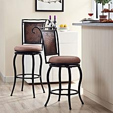 Crosley Furniture Wingate Swivel Counter Stool -Black Gold/Tan Cushion