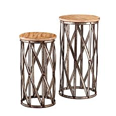 Crowley Set of 2 Hollow Bow-Legged Accent Tables