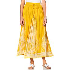 Curations Border Printed Gauze Skirt