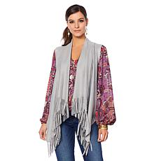 Curations Embossed Faux Suede Vest with Tassels