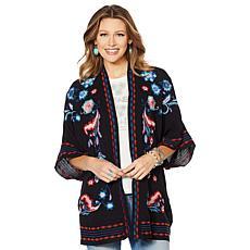Curations Embroidered Gauze Kimono