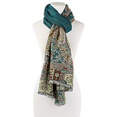 Curations Embroidered Jacquard Scarf