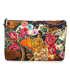 Curations Embroidered Printed Clutch
