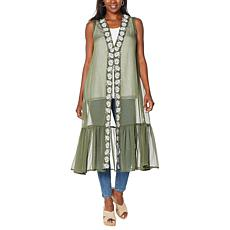 Curations Embroidered Sheer Topper