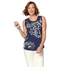 Curations Paisley Embroidered Tank