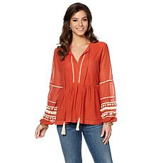 Curations Pompom Peasant Blouse