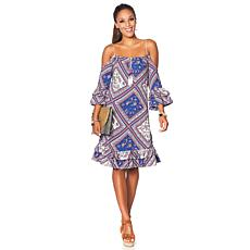 Curations Printed Cold-Shoulder Dress