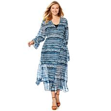 Curations Printed Faux Wrap Dress