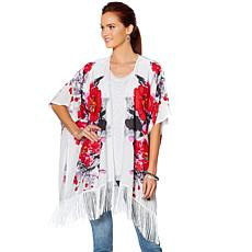 Curations Printed Kimono with Fringe