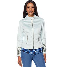 Curations Studded Faux Suede Jacket
