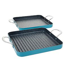 Curtis Stone Dura-Pan Nonstick Square Grill Pan and Griddle Pan