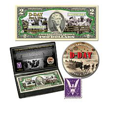 D-Day 75th Anniversary Commemorative Colorized Coin, Bill & Stamp Set