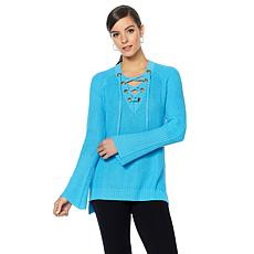 Daisy Fuentes Lace Up Sweater