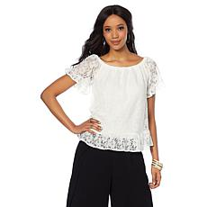 Daisy Fuentes On/Off Shoulder Lace Blouse