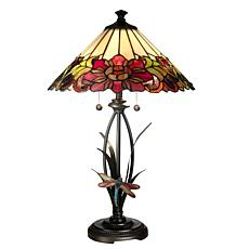 Dale Tiffany Floral with Dragonfly Table Lamp