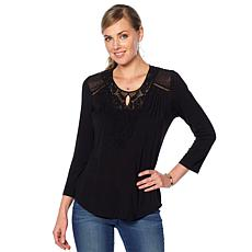 Daniel Rainn Lace Trimmed Knit Top