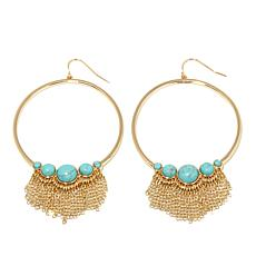 Danielle Nicole Simulated Gem Hoop  Fringe Earrings