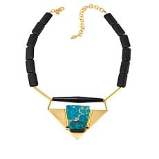 "David Aubrey ""Danielle"" Green and Black Triangular Drop 19"" Necklace"