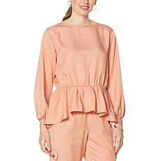 DAVID David Meister Washed Luxe Blouson Top