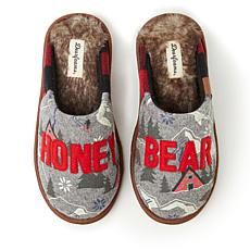 Dearfoams Alpine Print Family Mood Bear Scuff - Honey