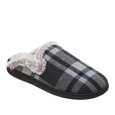 Dearfoams Embroidered or Plaid Mule Slipper with Faux Fur Trim