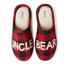 Dearfoams Men's Buffalo Check Uncle Bear Clog Slipper