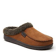 Dearfoams Microsuede Moccasin Toe Clog with Berber Cuff