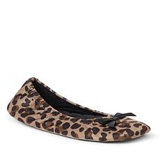 Dearfoams Women's Layla Ballerina Slipper - Black, Leopard