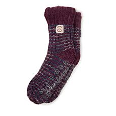 Dearfoams Women's Space-Dye Textured Knit Flurry Slipper Sock