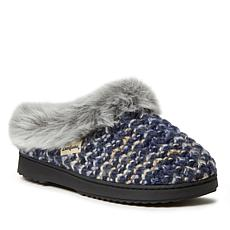 Dearfoams Women's Sweater Knit Clog with Furry Trim