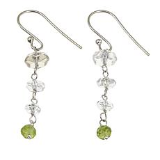 "Deb Guyot 3.7ctw Herkimer ""Diamond"" Quartz and Peridot Drop Earrings"