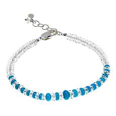 "Deb Guyot Herkimer ""Diamond"" Quartz and Turquoise Bead Bracelet"