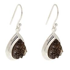 Deb Guyot Herkimer Gray Drusy Sterling Silver Drop Earrings